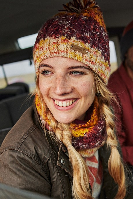 Lupin Cable Acrylic Bobble Hat Burgundy