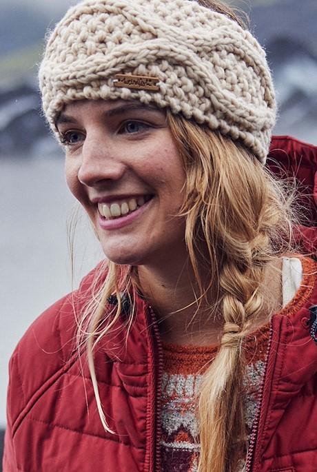 Ellor Eco Chunky Cable Knit Headband Chalk