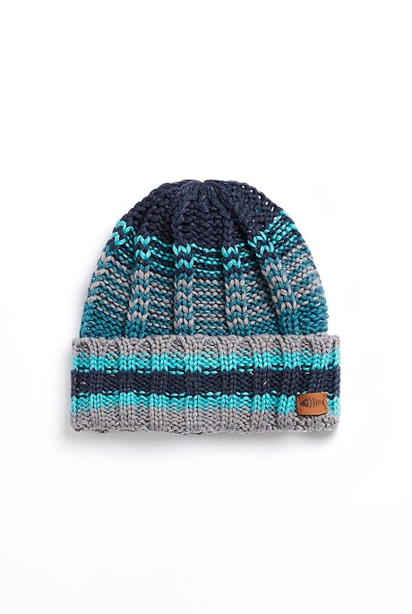 Boise Eco Variagated Striped Beanie Frost Grey