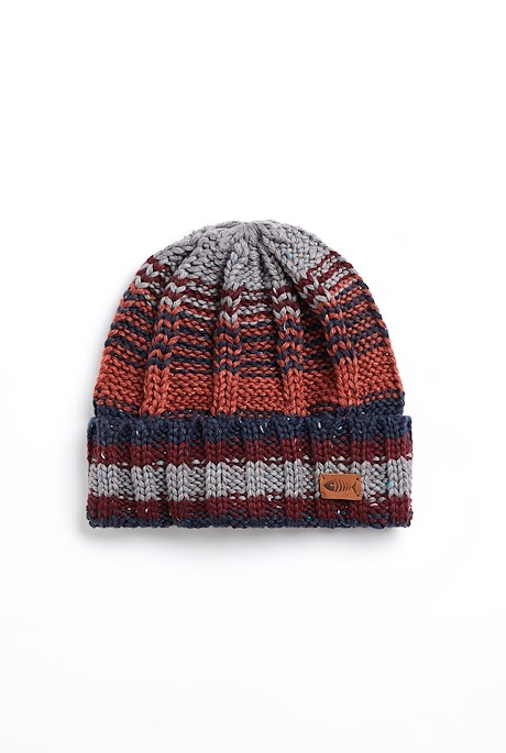 Boise Eco Variagated Striped Beanie Navy