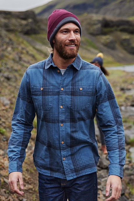 Chester Organic Cotton Long Sleeve Check Shirt Blue Mirage