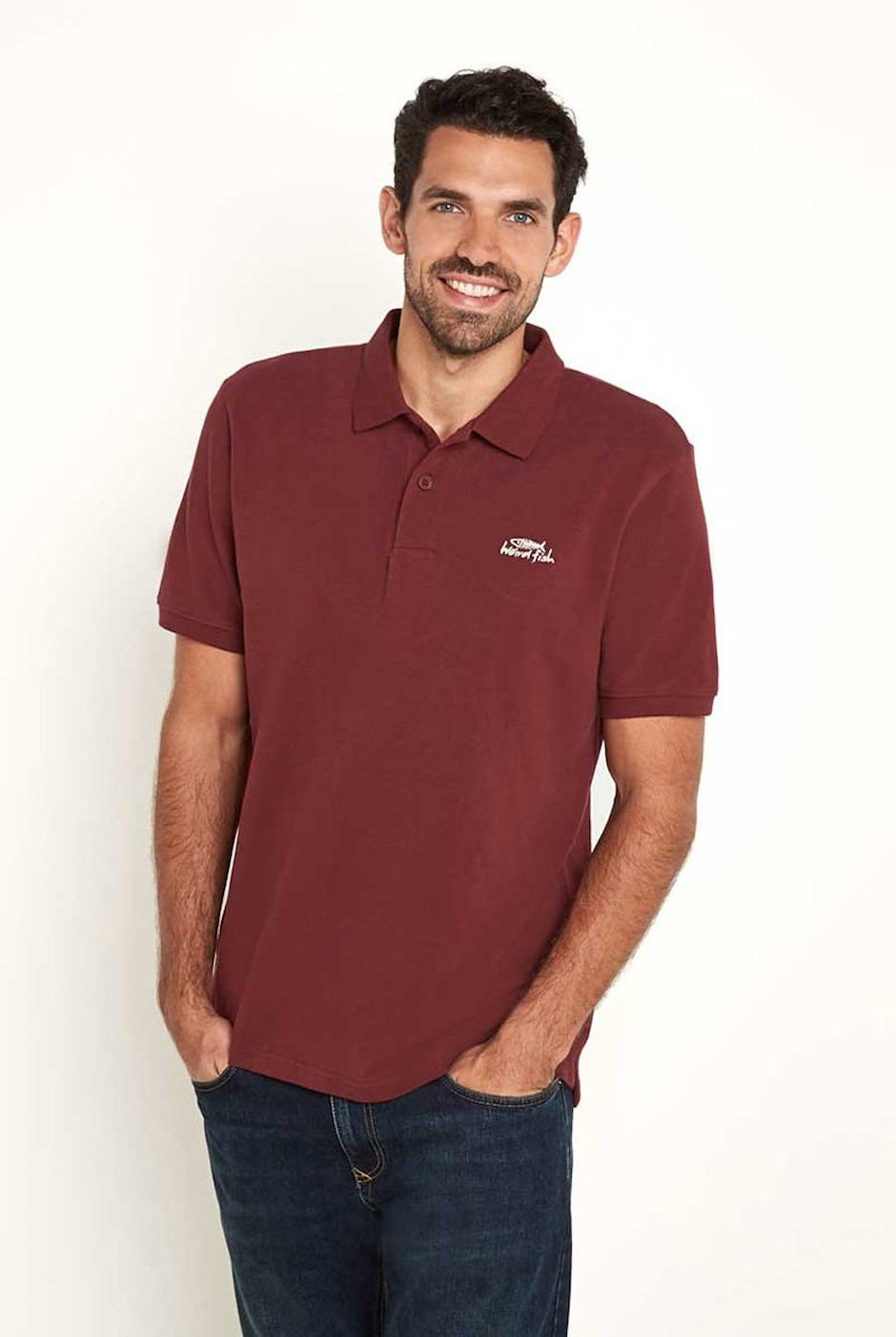 Saltash Rib Collar Pique Polo Shirt Oxblood Red