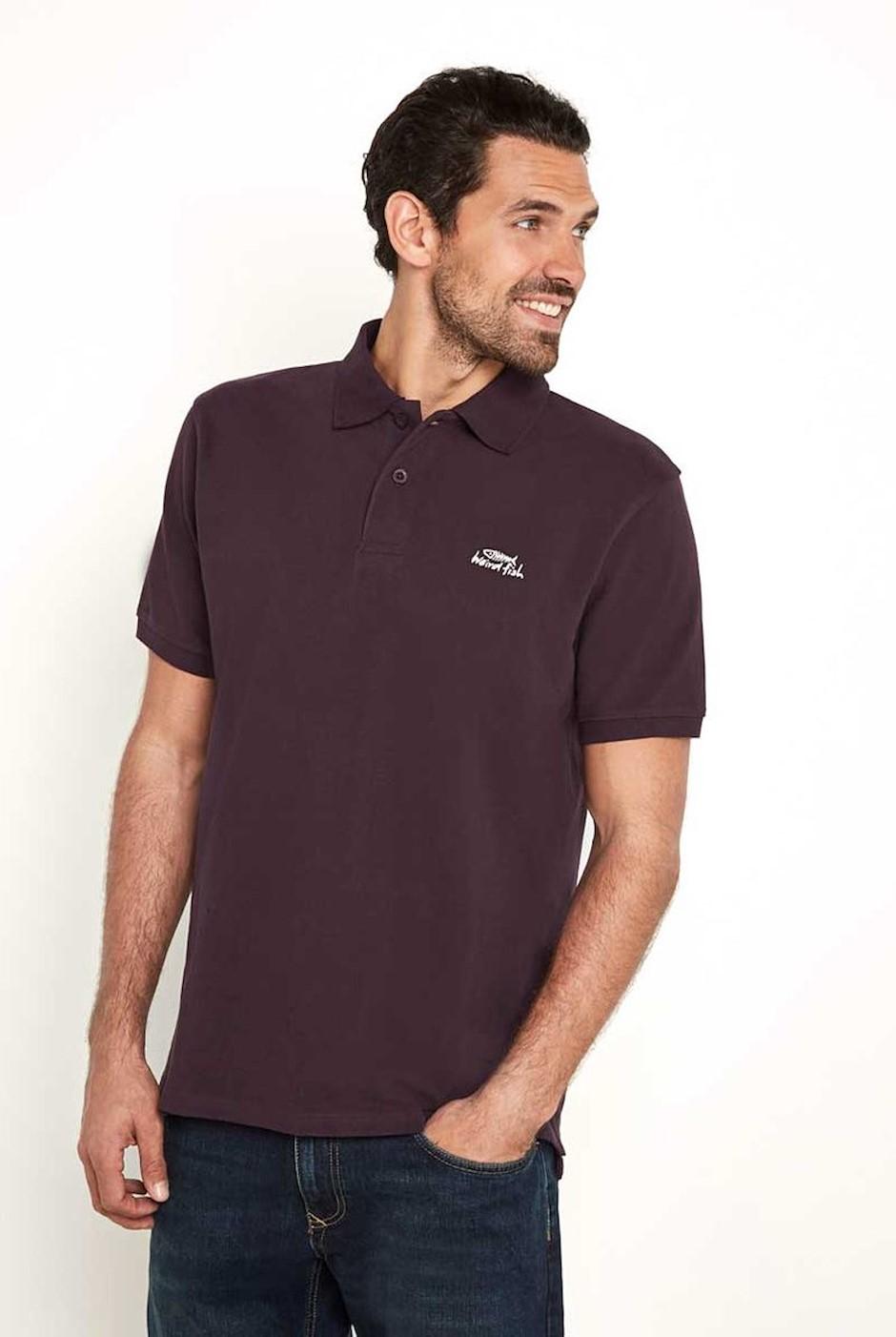 Saltash Rib Collar Pique Polo Shirt Mulled Wine