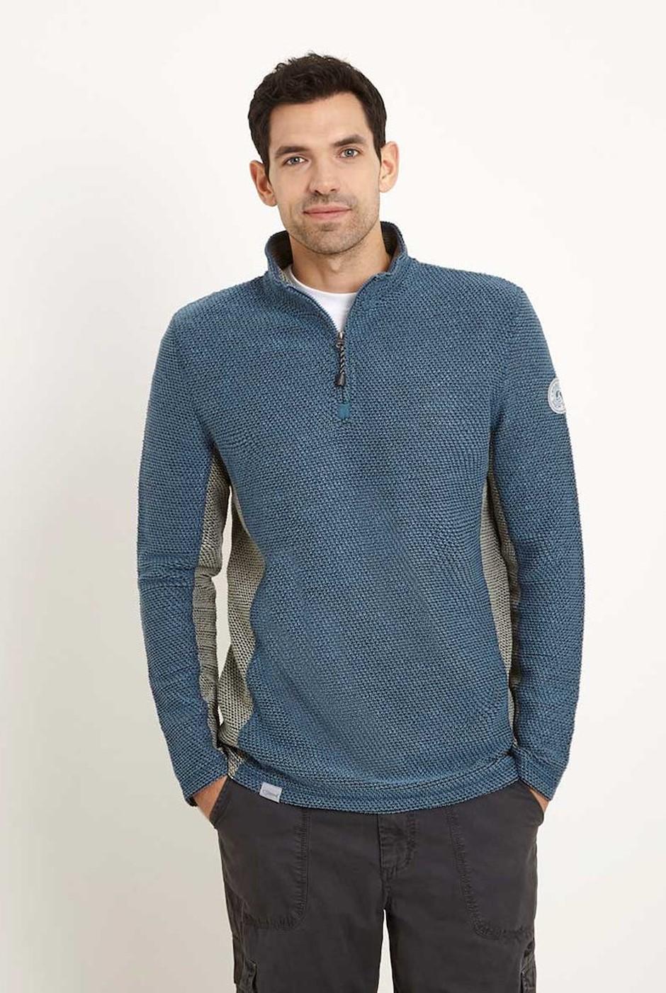 Siren 1/4 Zip Mac Active Macaroni Sweatshirt Washed Blue