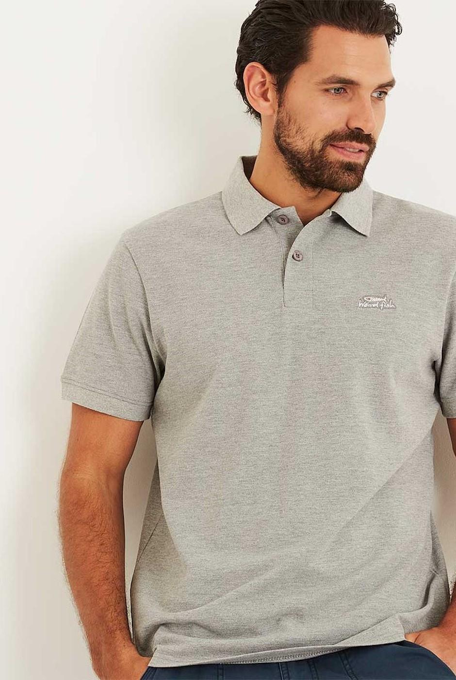 Saltash Rib Collar Pique Polo Shirt Grey