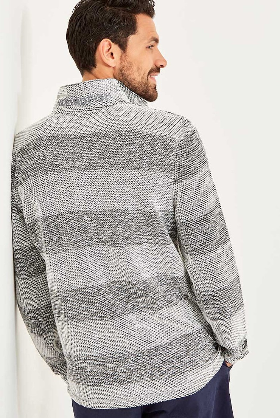 Hogan 1/4 Zip Striped Active Macaroni Ecru
