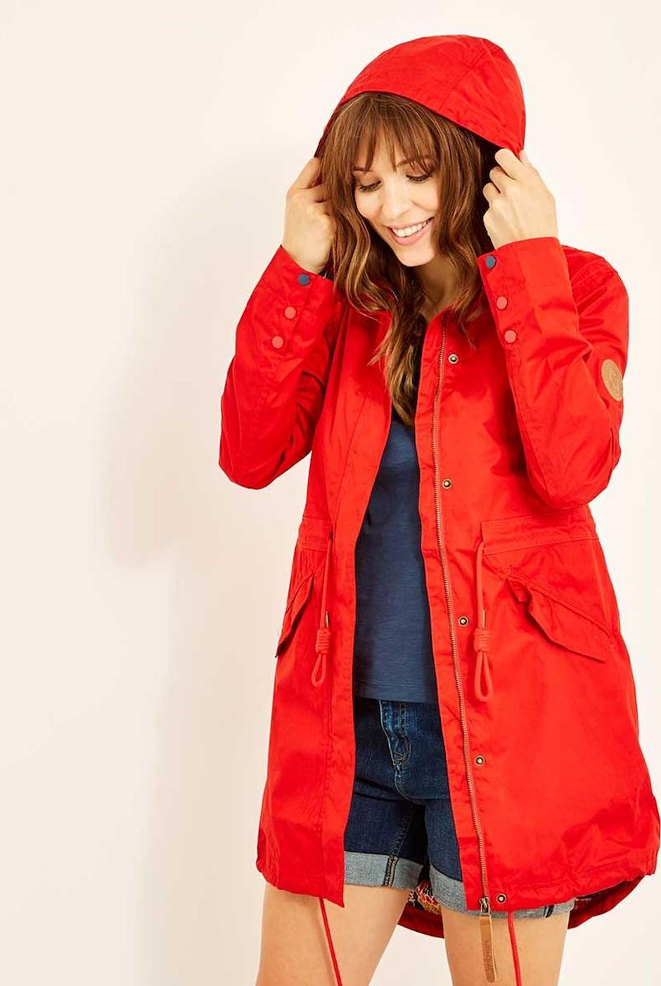 Amorite Waterproof Print Lined Parka Jacket Tango Red
