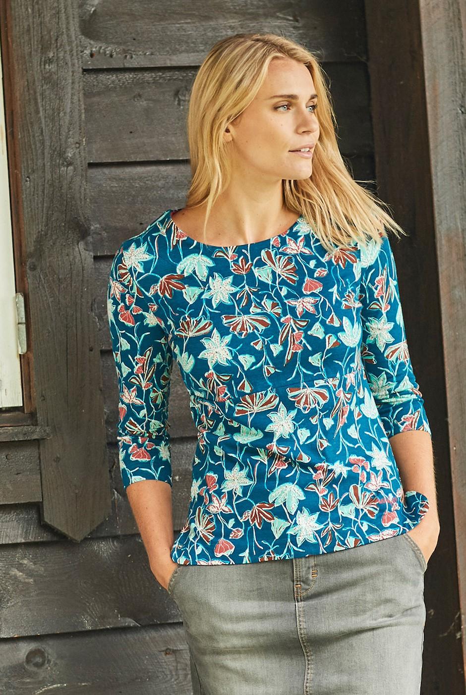Pinto Printed Jersey T-Shirt Deep Sea Blue