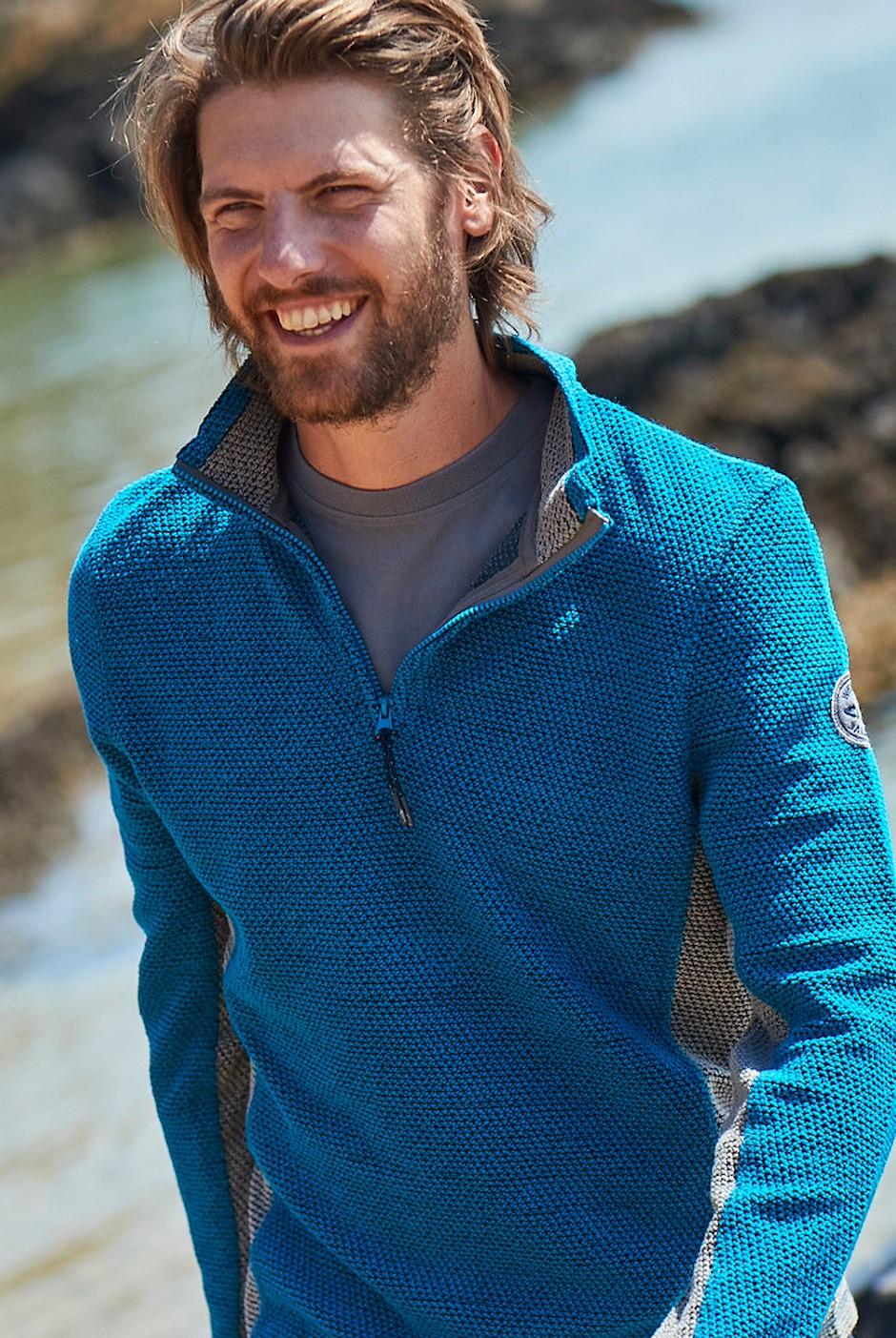Stanford 1/4 Zip Active Macaroni Sweatshirt Blue Jay