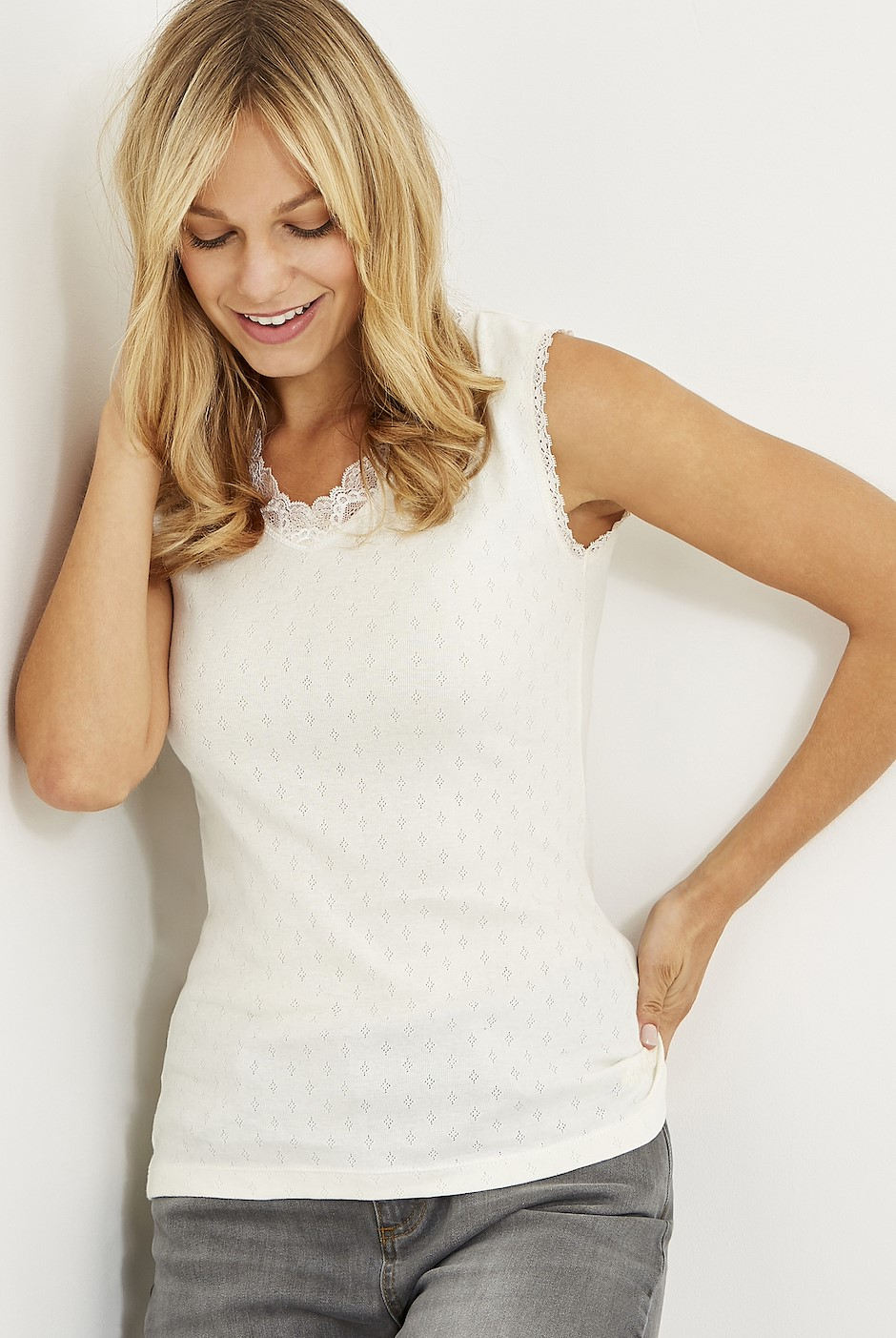 Jemima Pointelle Lounge Vest Light Cream