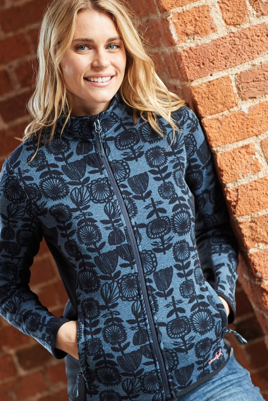 Filippa Printed Fleece Soft Knit Jacket Dark Navy