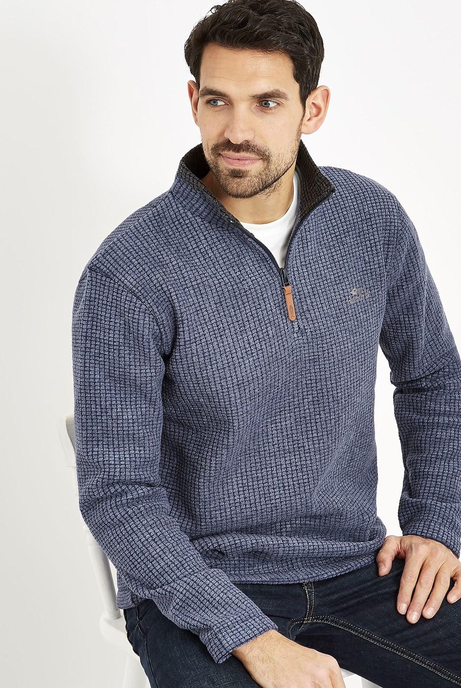 Newark 1/4 Zip Grid Fleece Sweatshirt Dark Navy