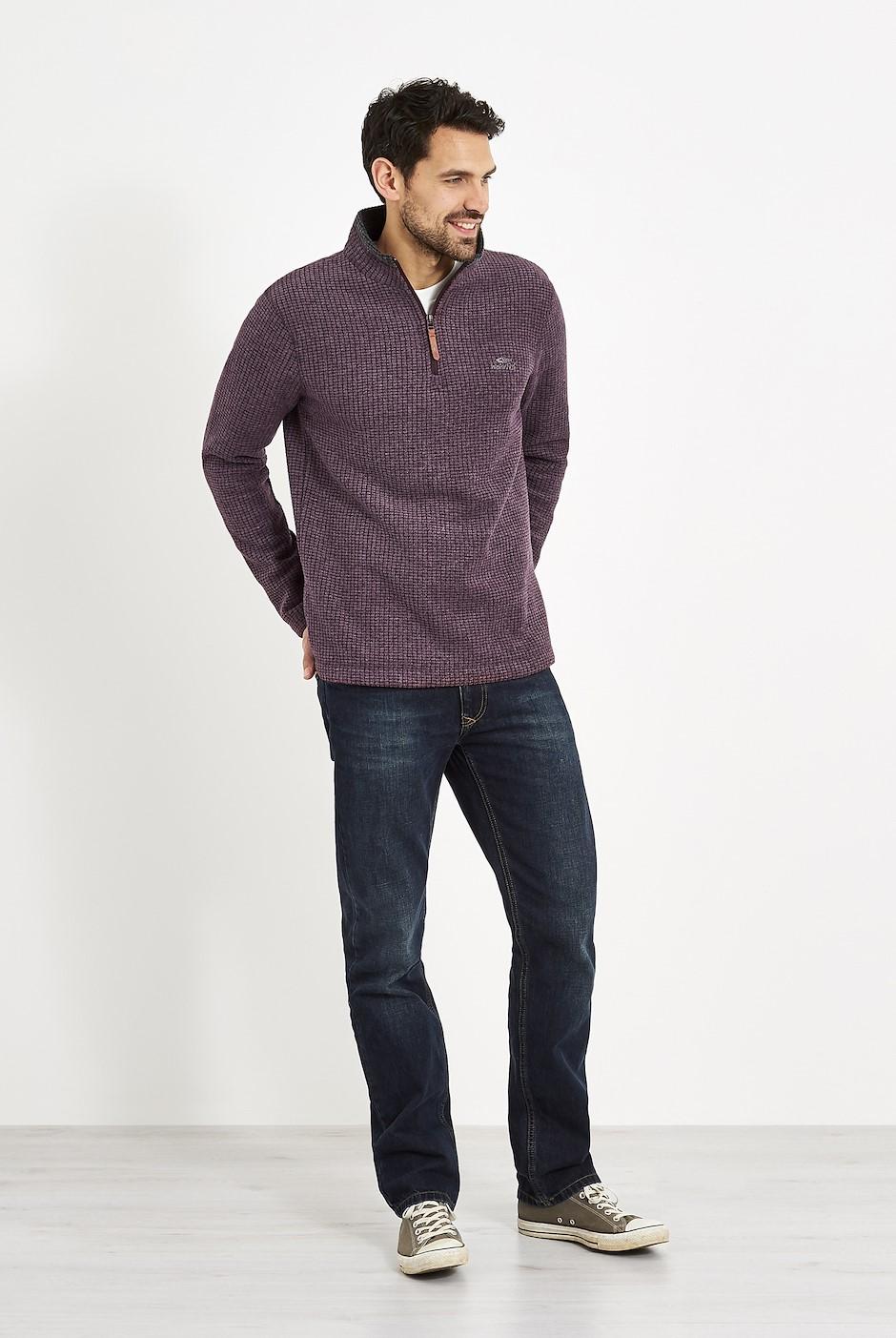 Newark 1/4 Zip Grid Fleece Sweatshirt Dark Wine