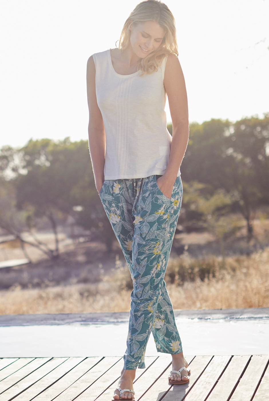 Tinto Printed Harem Trousers Viridis