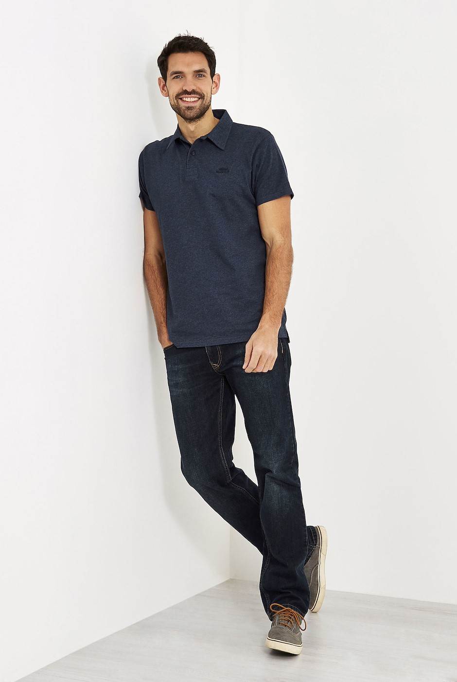 Quay Branded Polo Shirt Maritime Blue Marl