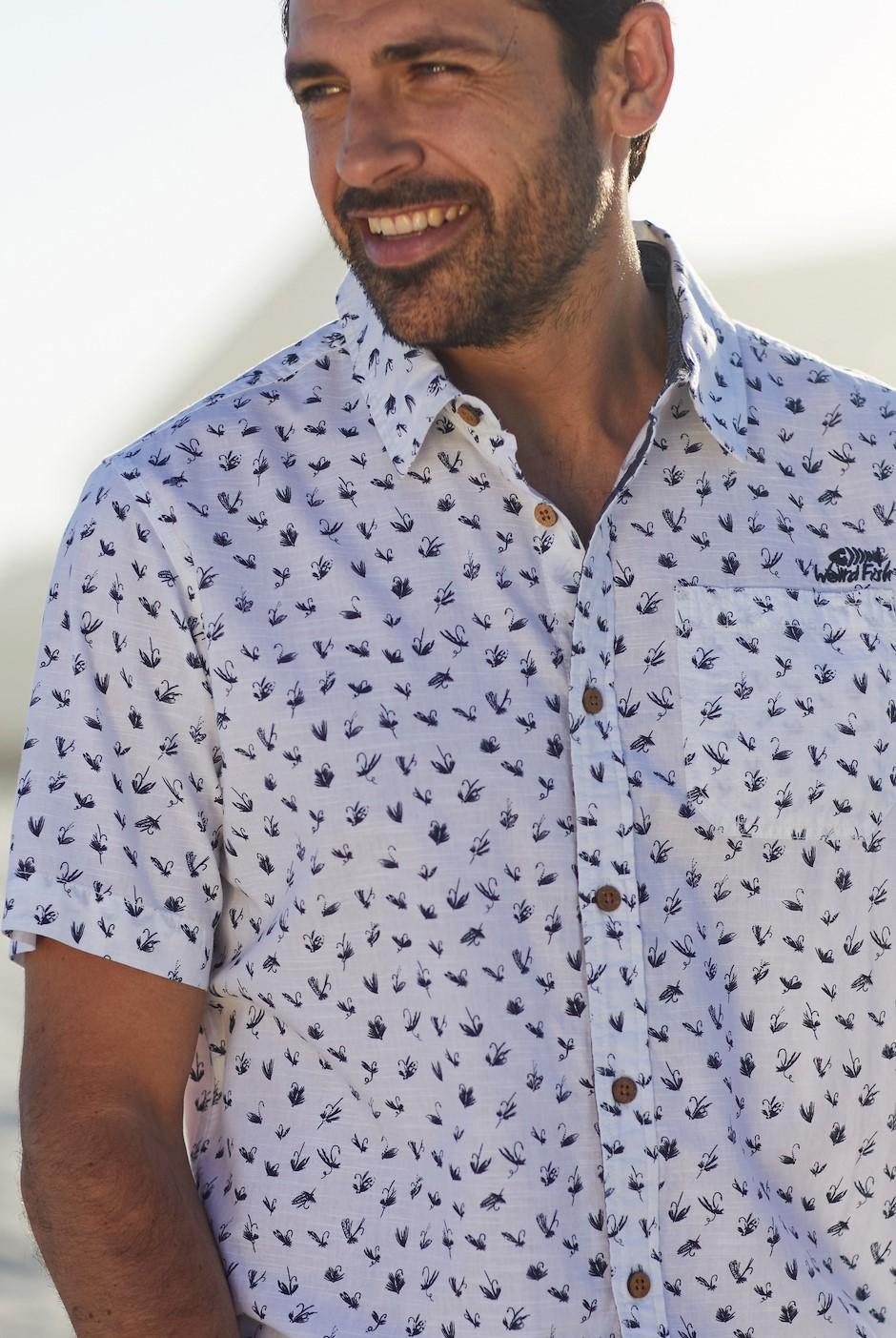 Milbay Print Cotton Short Sleeve Shirt Dusty White