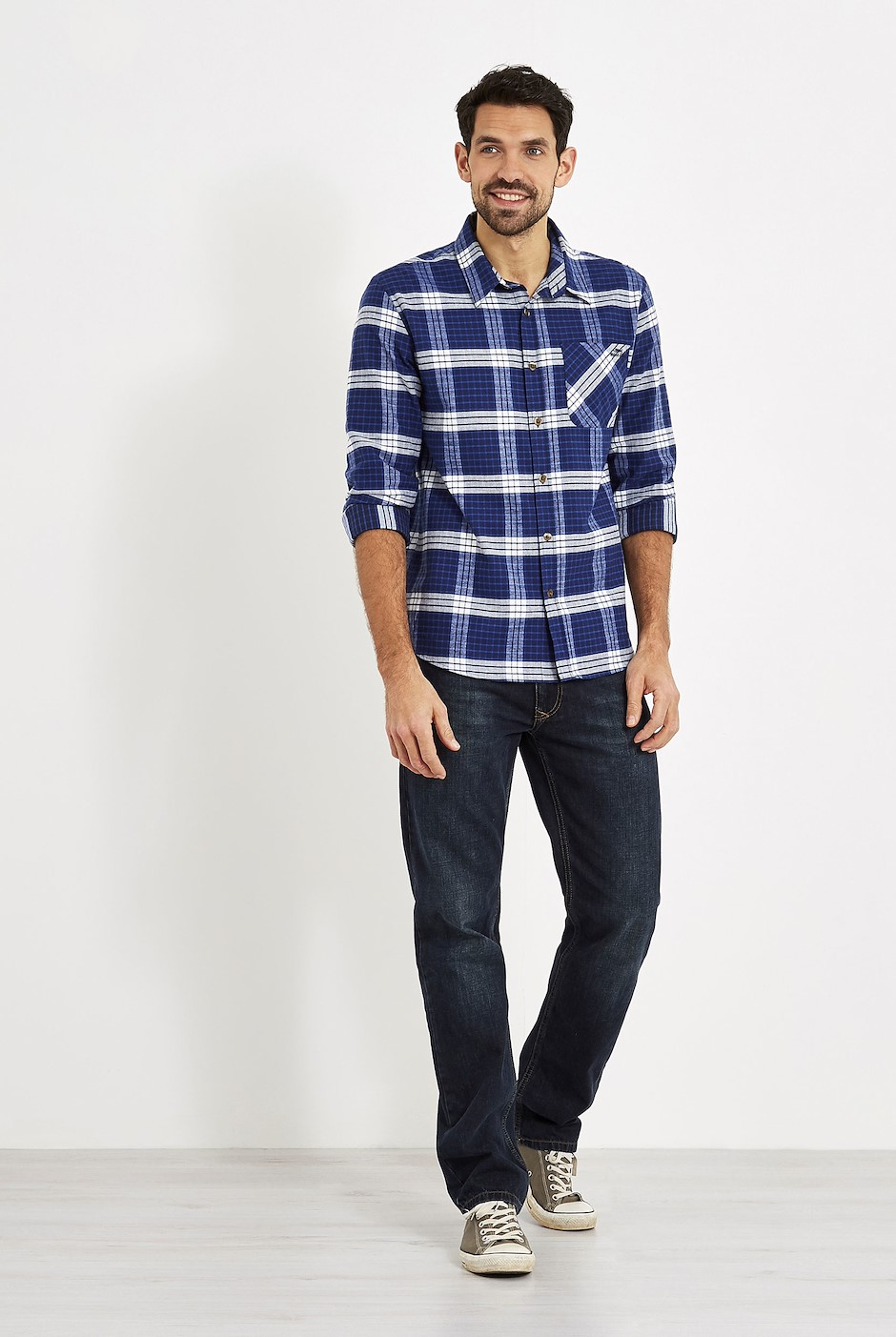 Griffin Long Sleeve Check Shirt Ensign Blue