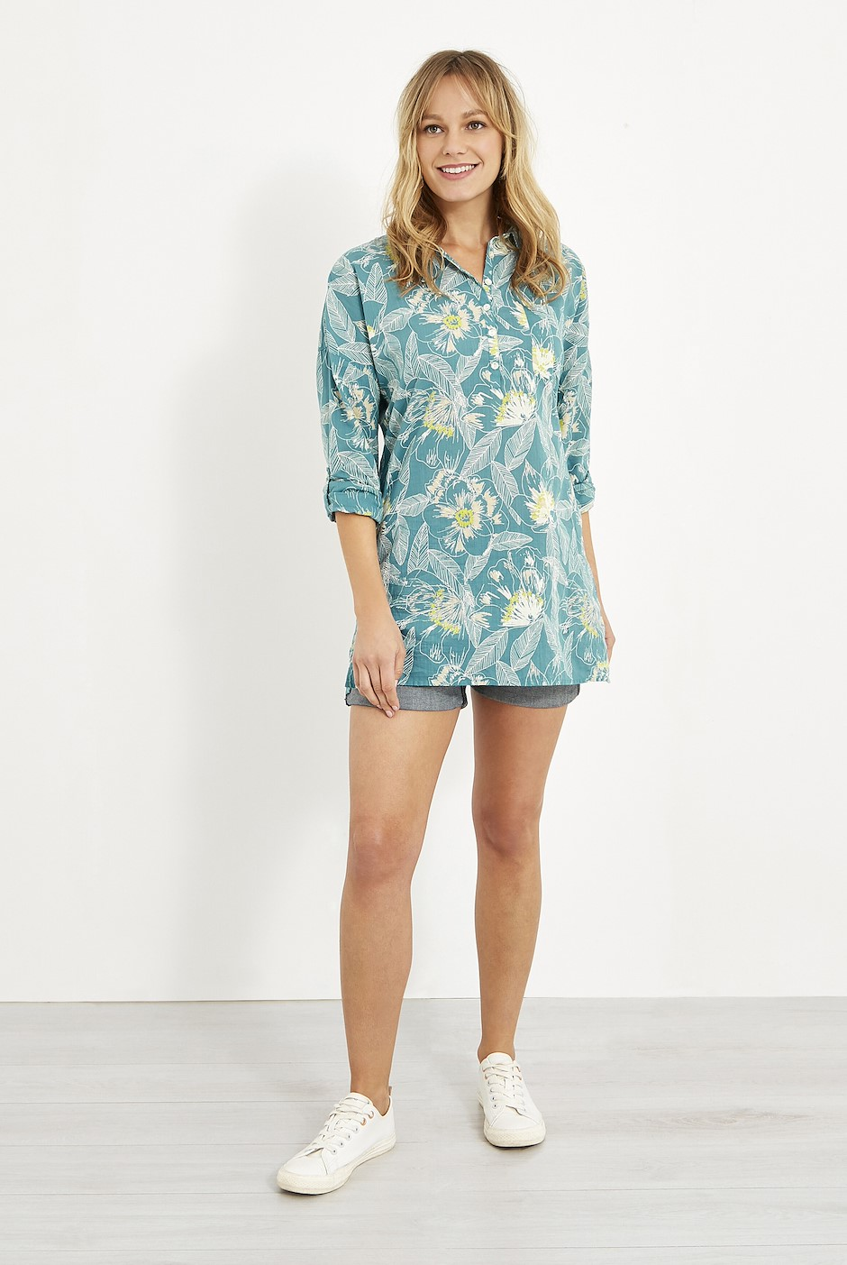 Georgina Printed Cotton Shirt Viridis