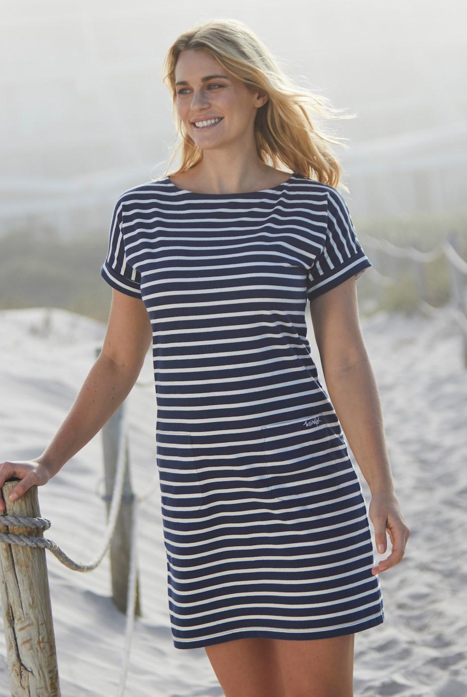 Etta Striped Jersey Dress Dark Navy