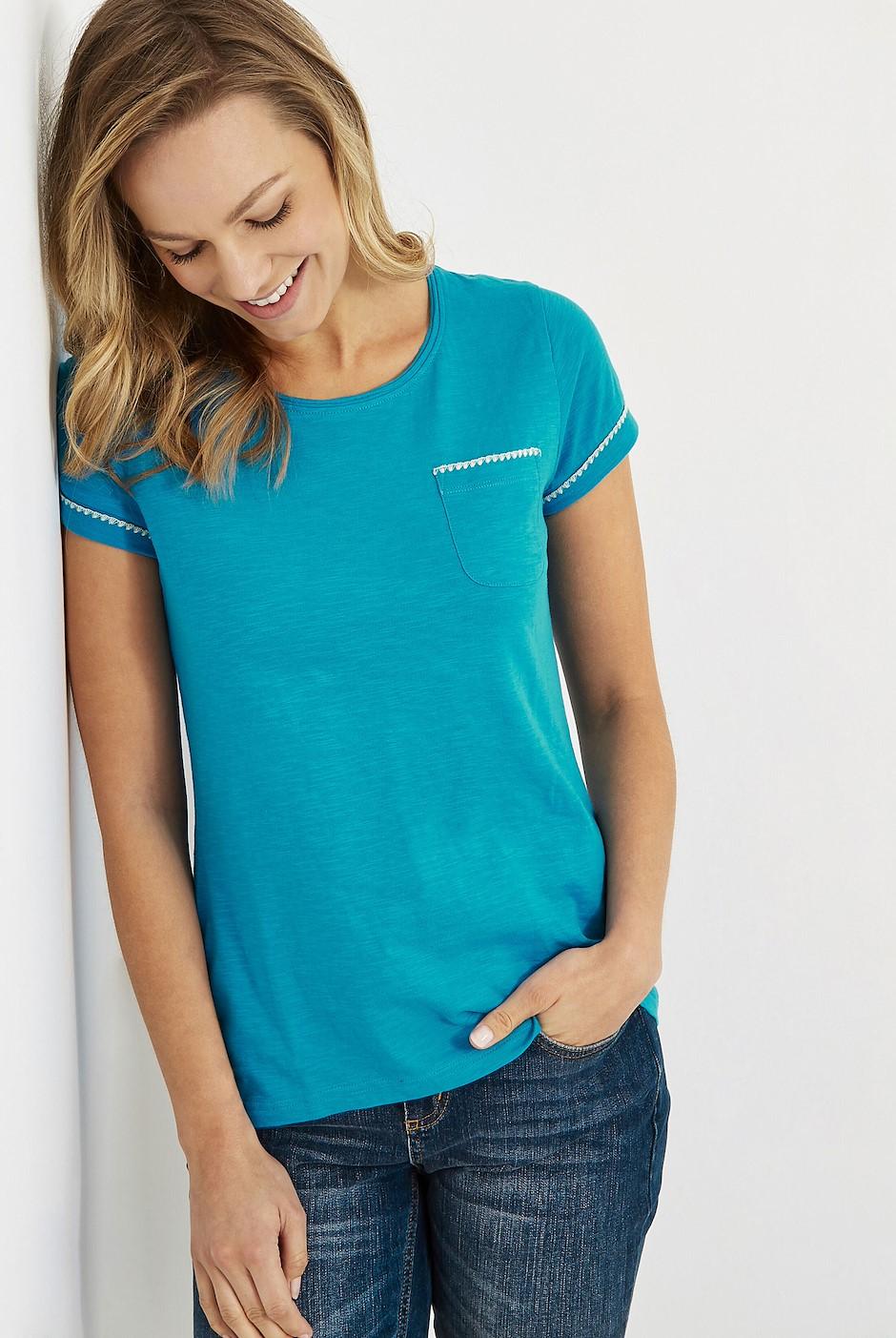 Tenby Slub Cotton T-Shirt  Lagoon Blue