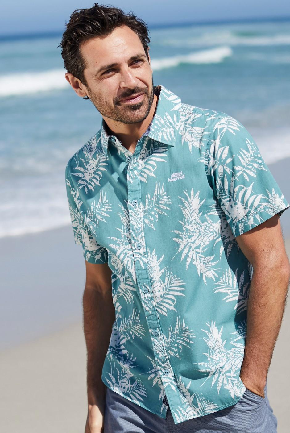 Mayo Hawaiian Short Sleeve Shirt Mineral Blue