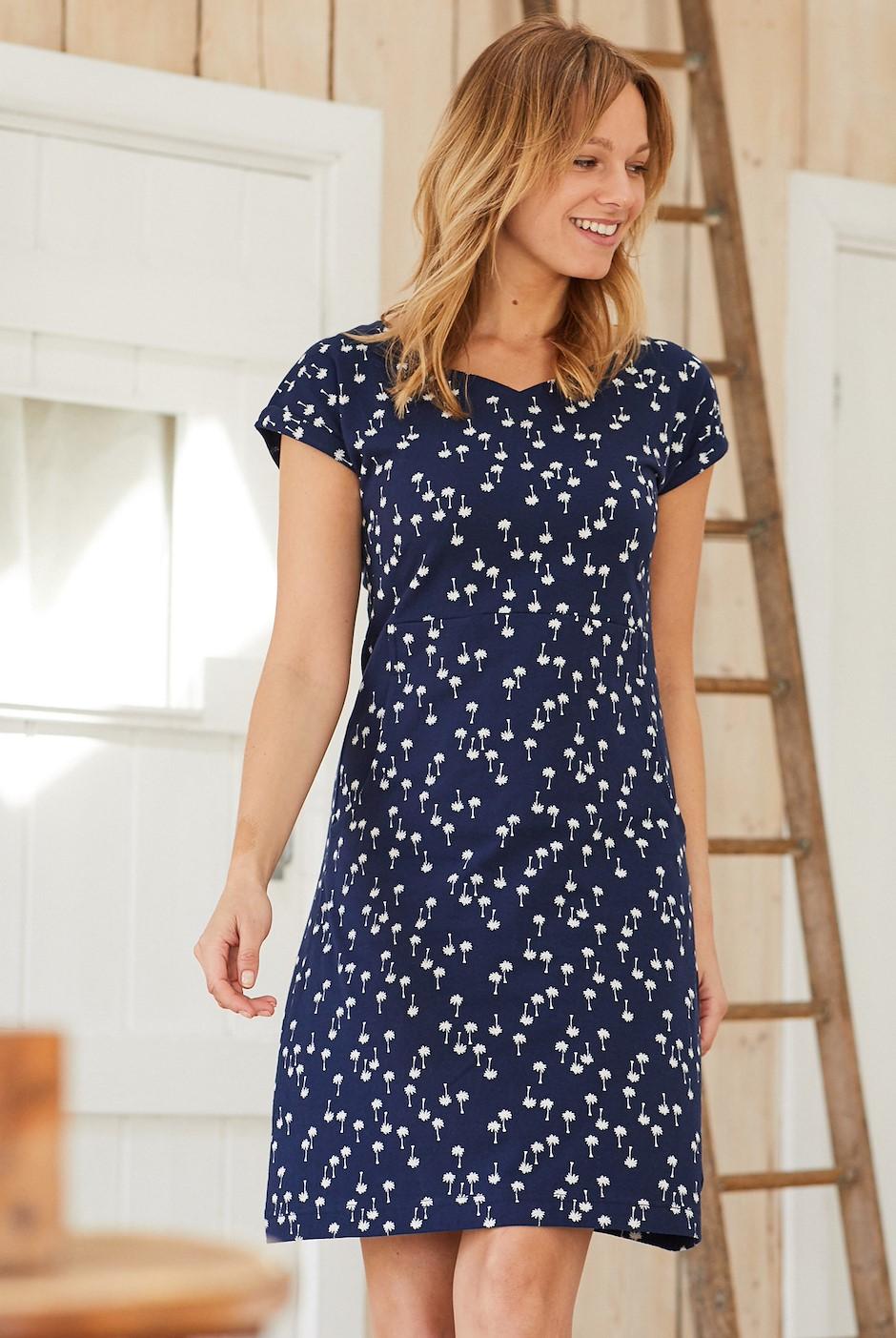 Biscayne Printed Jersey Dress Maritime Blue