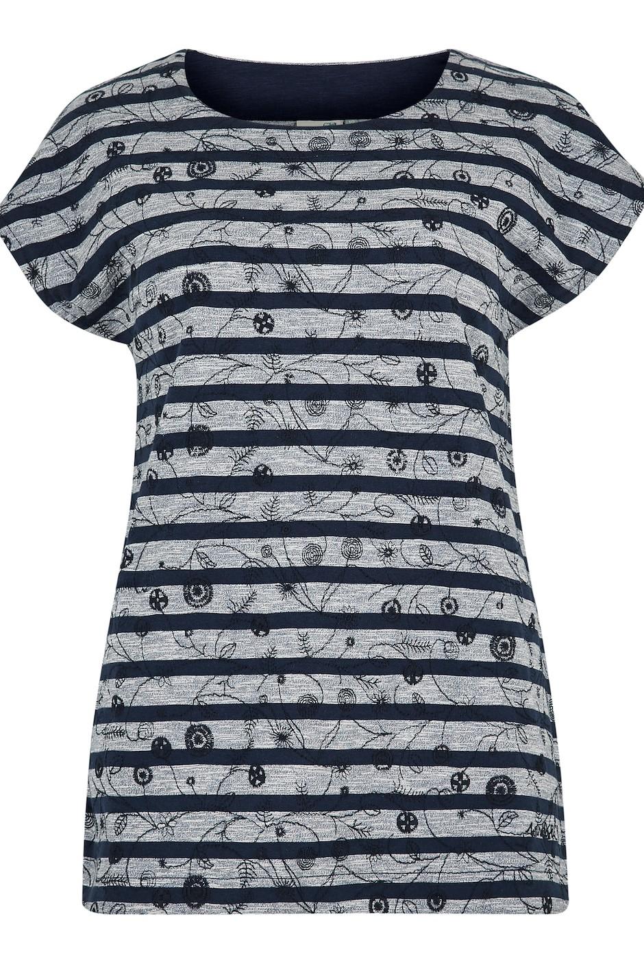 Nova Embroidered Stripe Tee Dark Navy