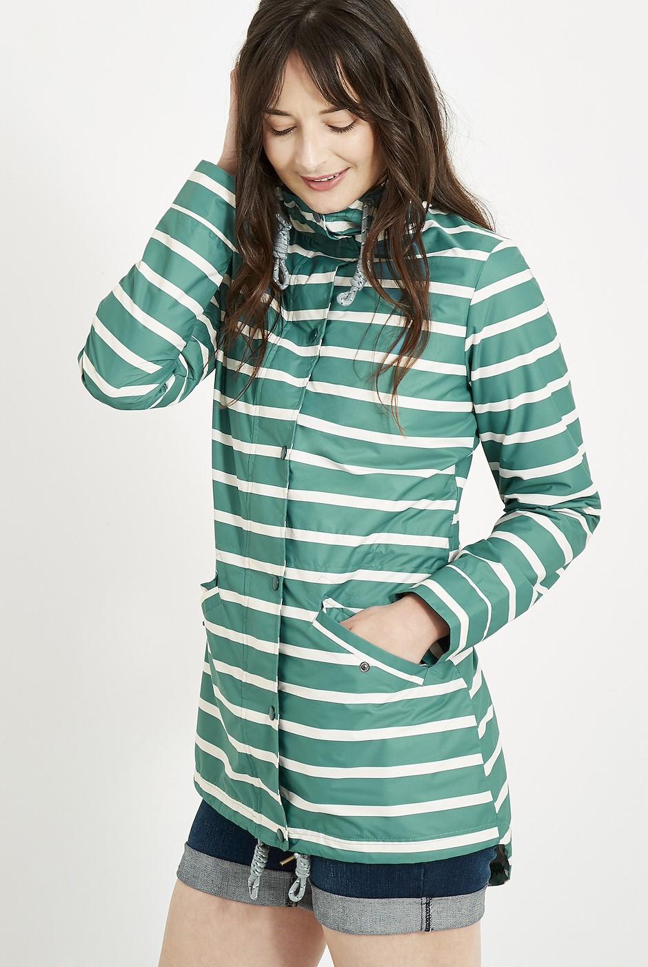 Antonia Striped Showerproof Jacket Viridis
