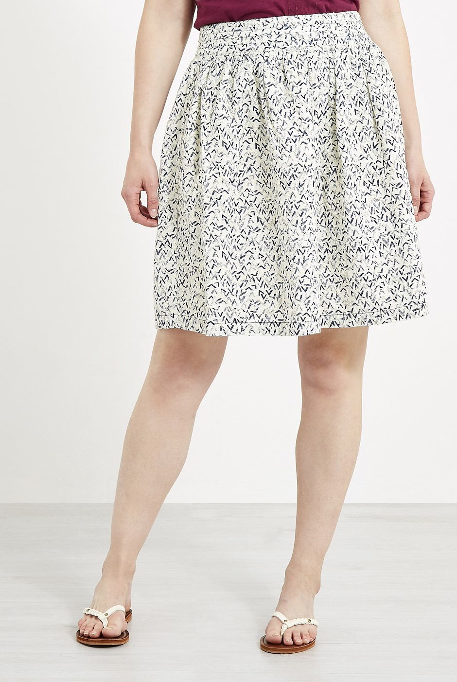 Haywood Printed Voile Skirt Dark Navy
