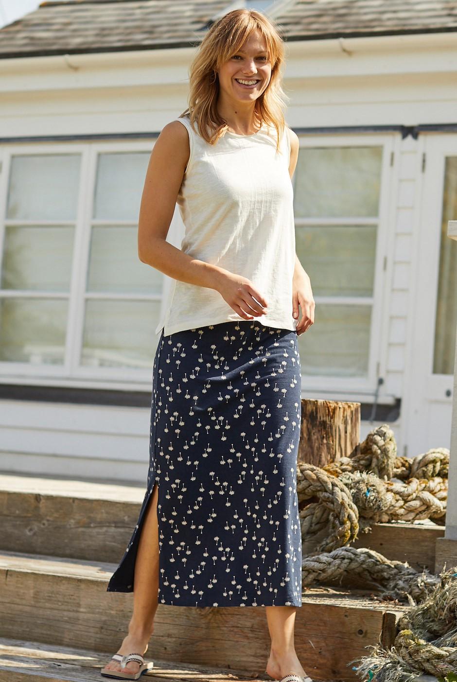 Maren Printed Maxi Skirt Maritime Blue