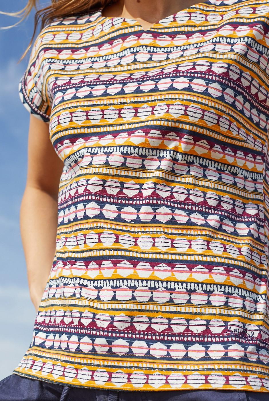 Sana Printed Jersey T-Shirt Tangerine
