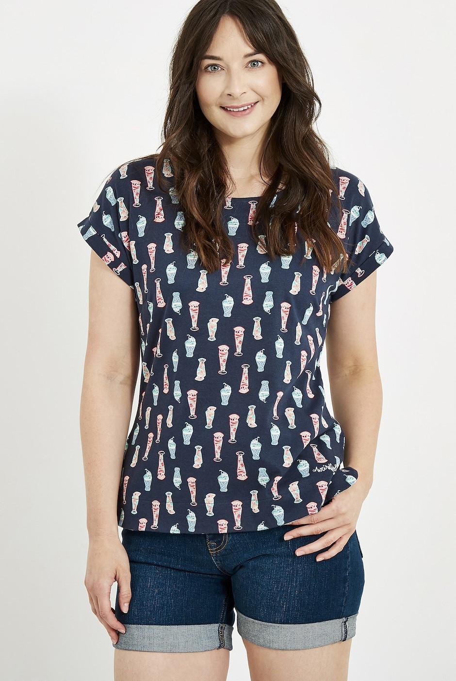 Paw Paw Printed Jersey T-Shirt Navy Blue