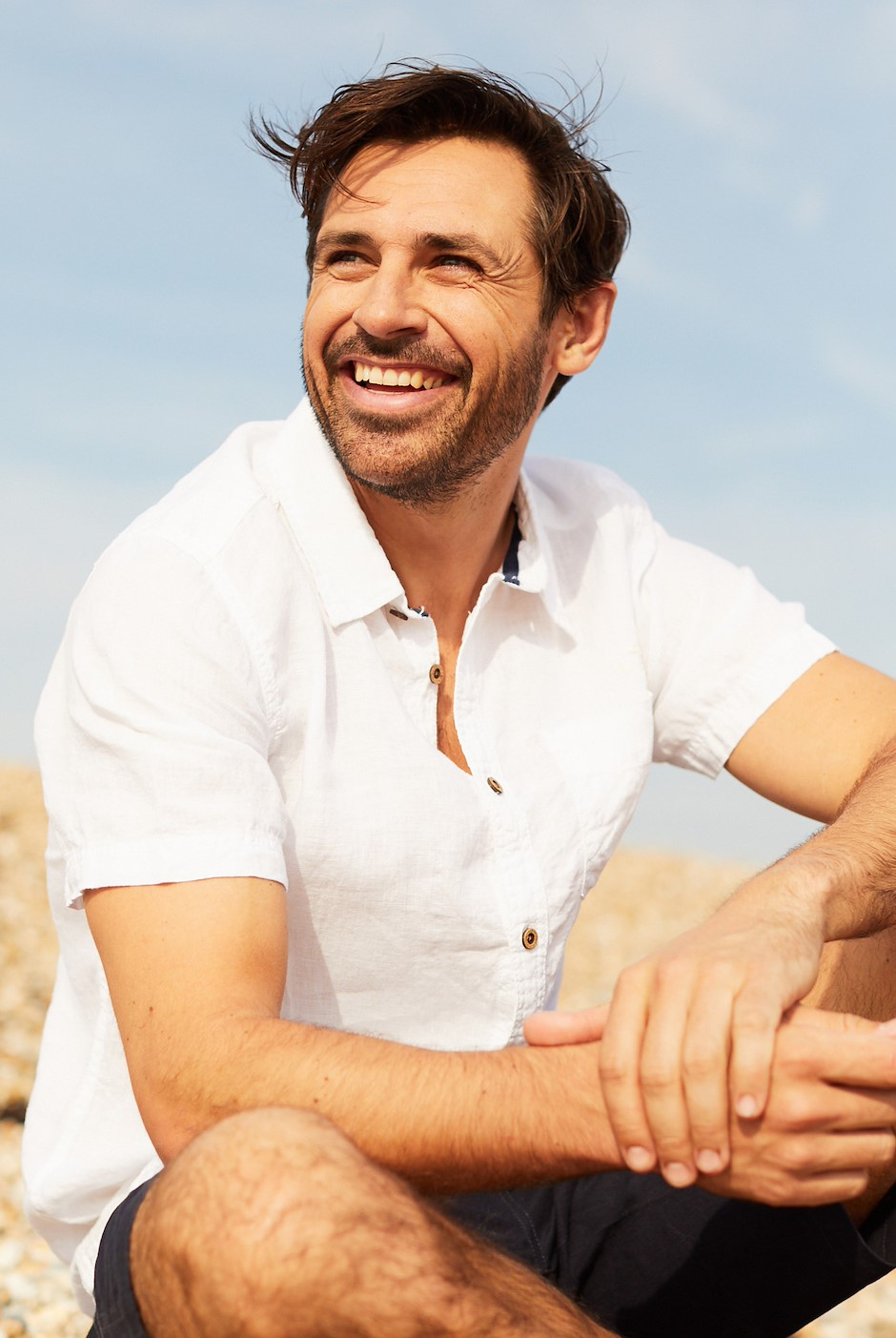 Nevis Short Sleeve Linen Shirt Dusty White
