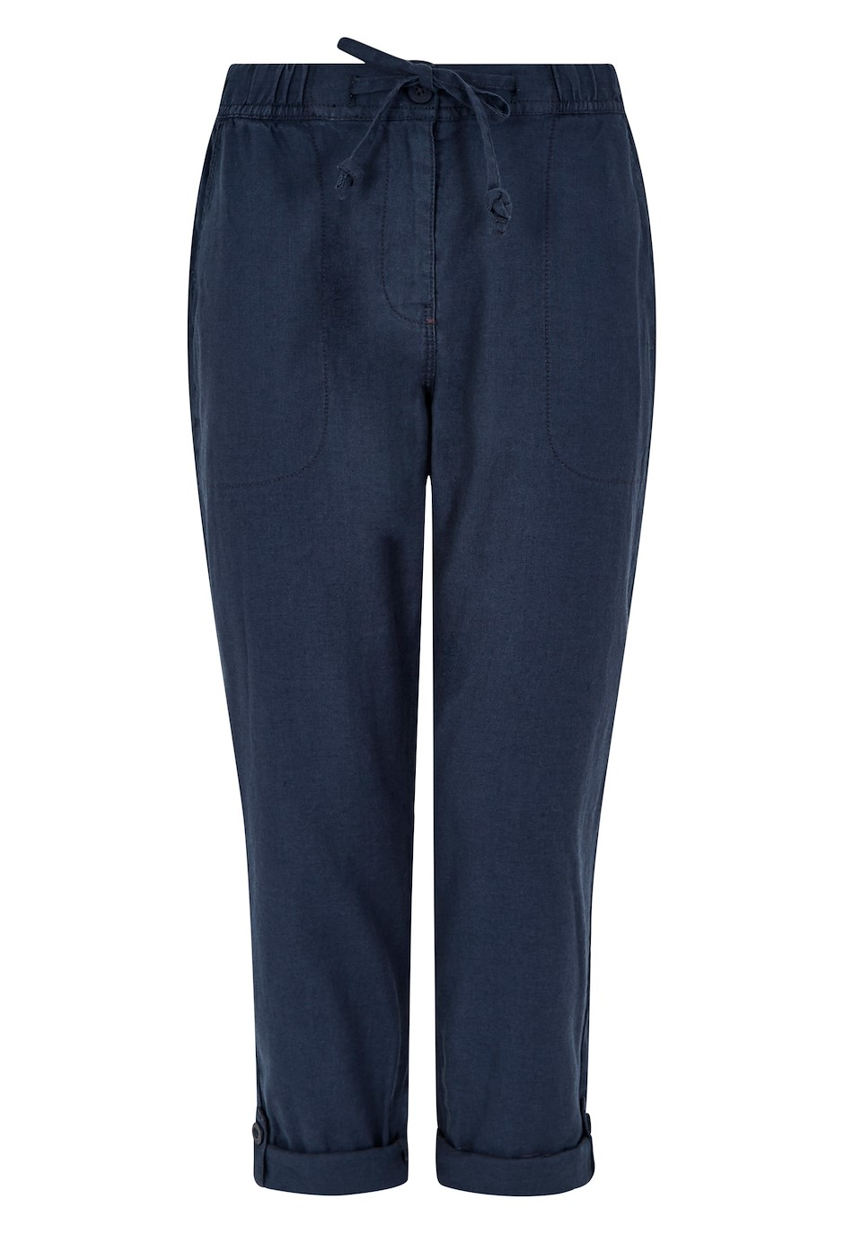 Kenna Linen Crop Trousers Dark Navy