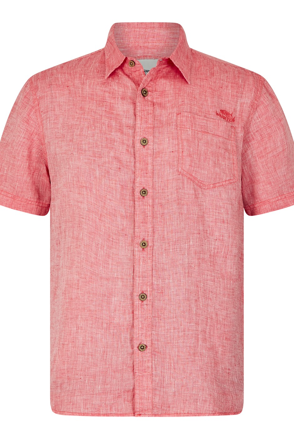 Lanark Short Sleeve Linen Shirt Dark Red