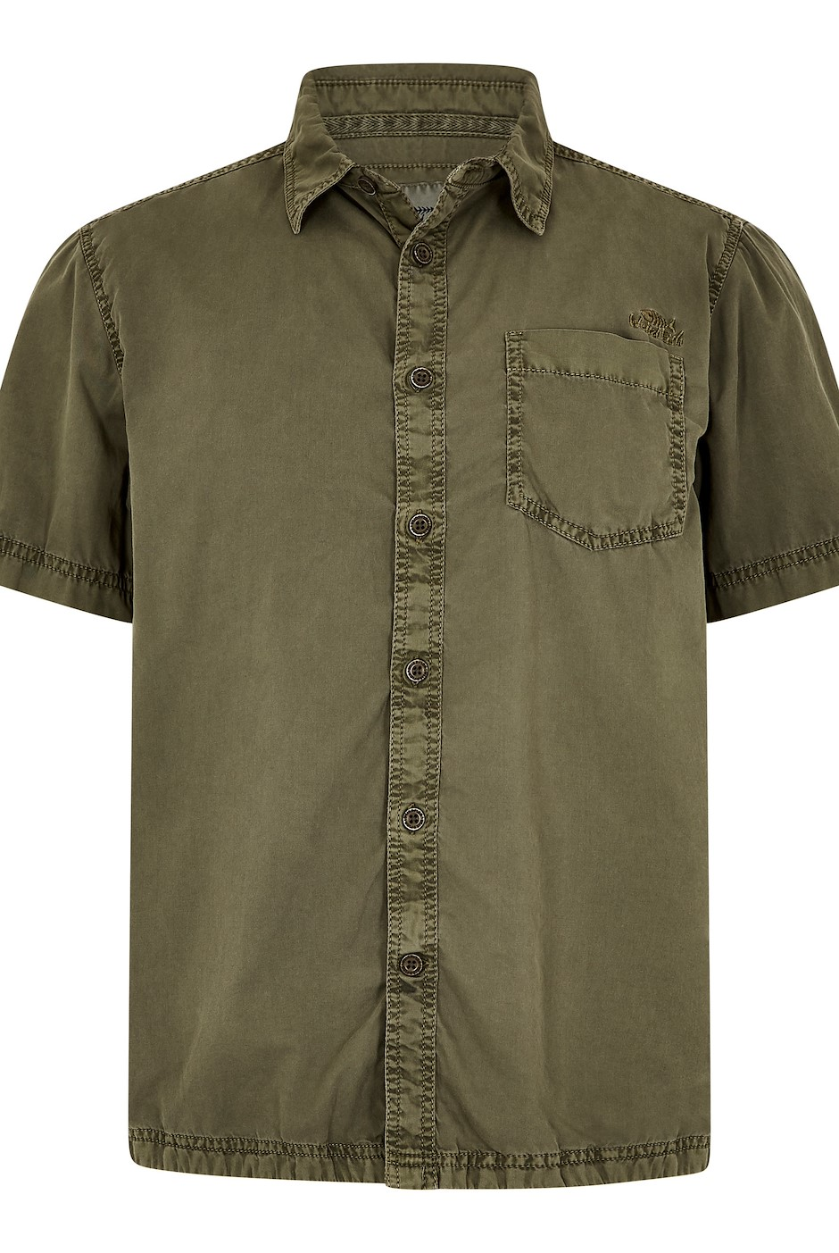 Salen Garment Dyed Twill Shirt Khaki Green