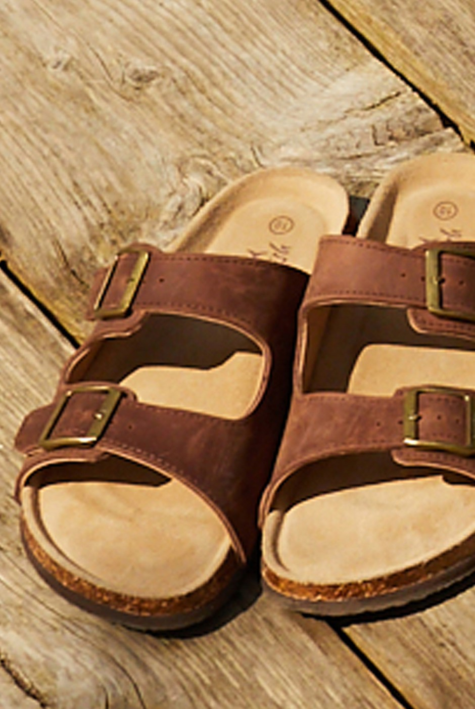 Daley Leather Two Strap Sandal Brown
