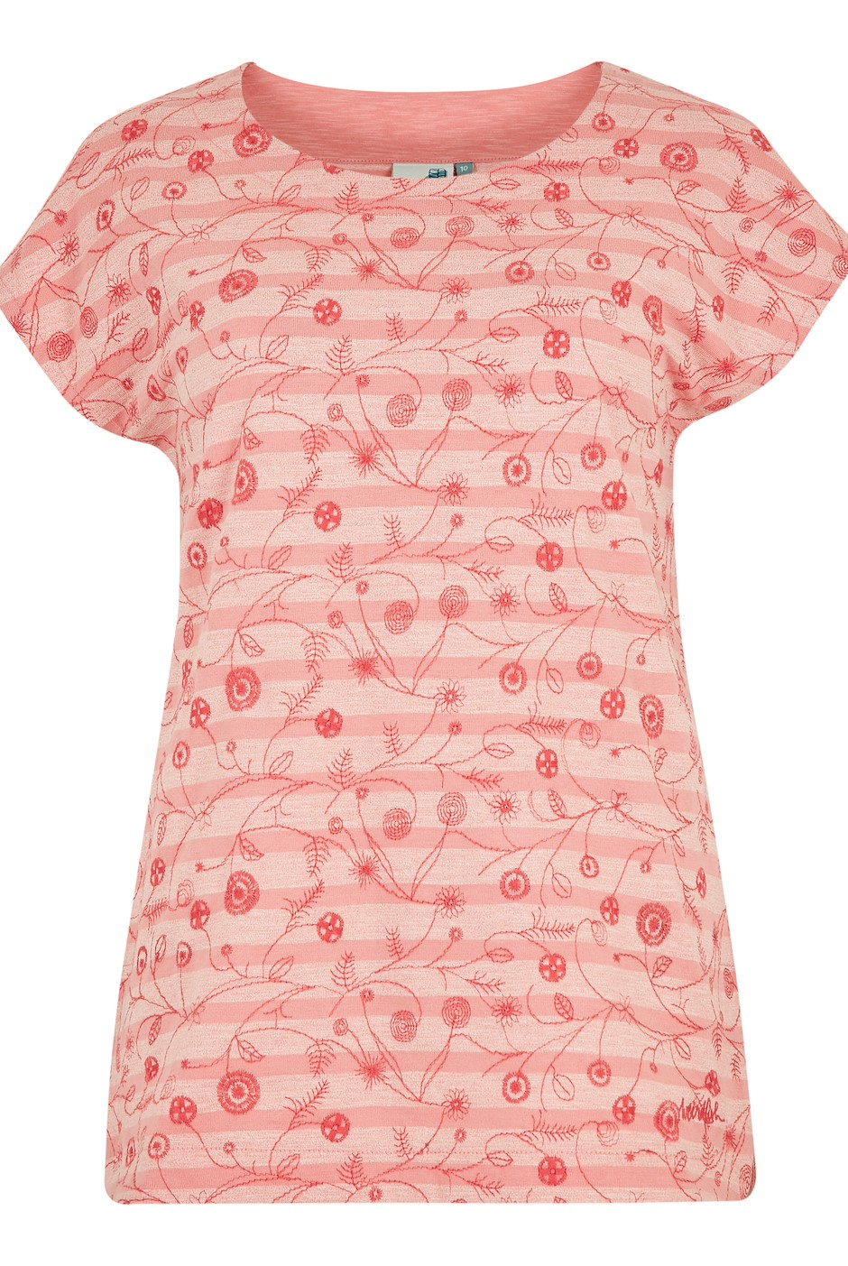 Nova Embroidered Stripe T-Shirt Pale Coral