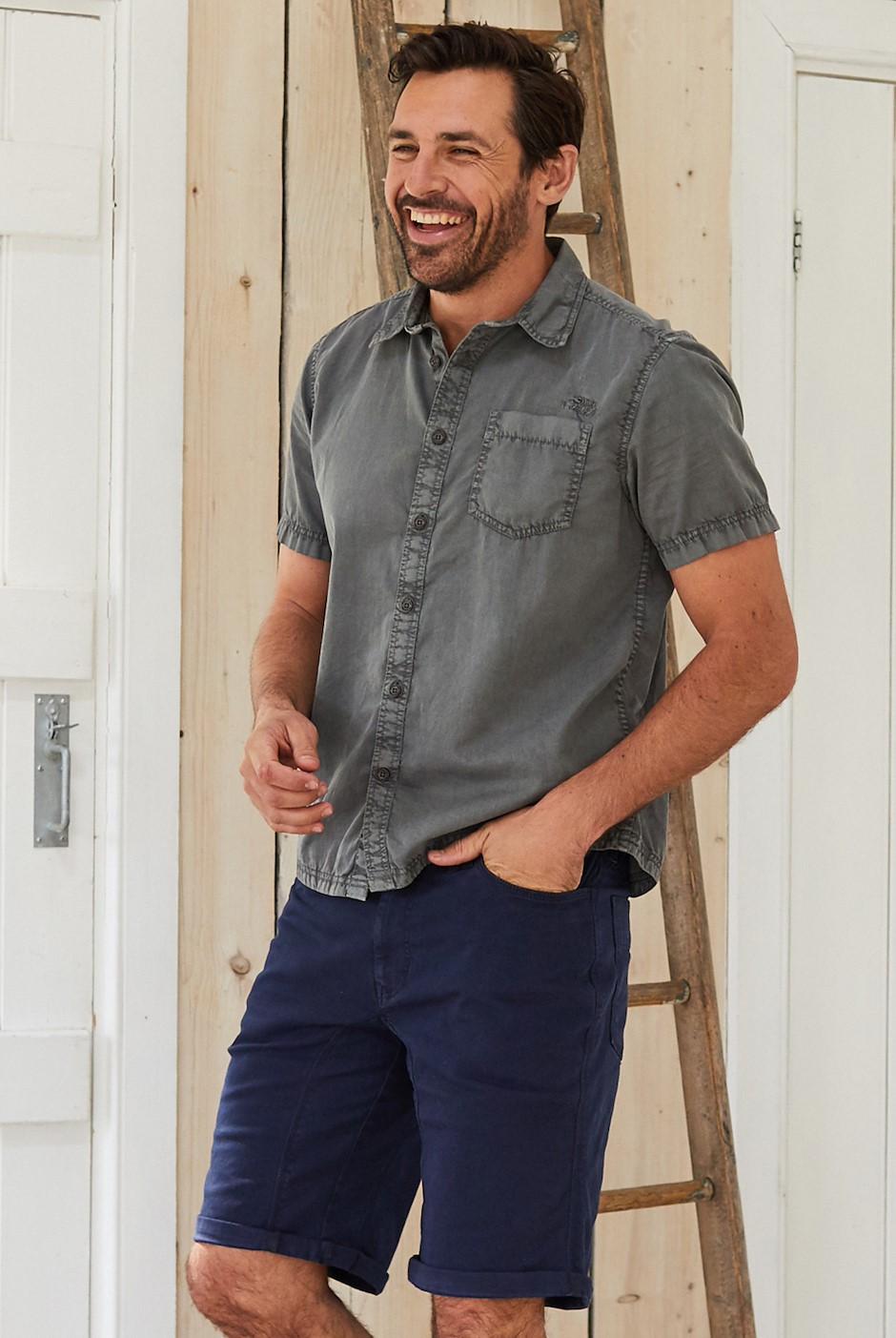 Salen Garment Dyed Twill Shirt Steel Grey