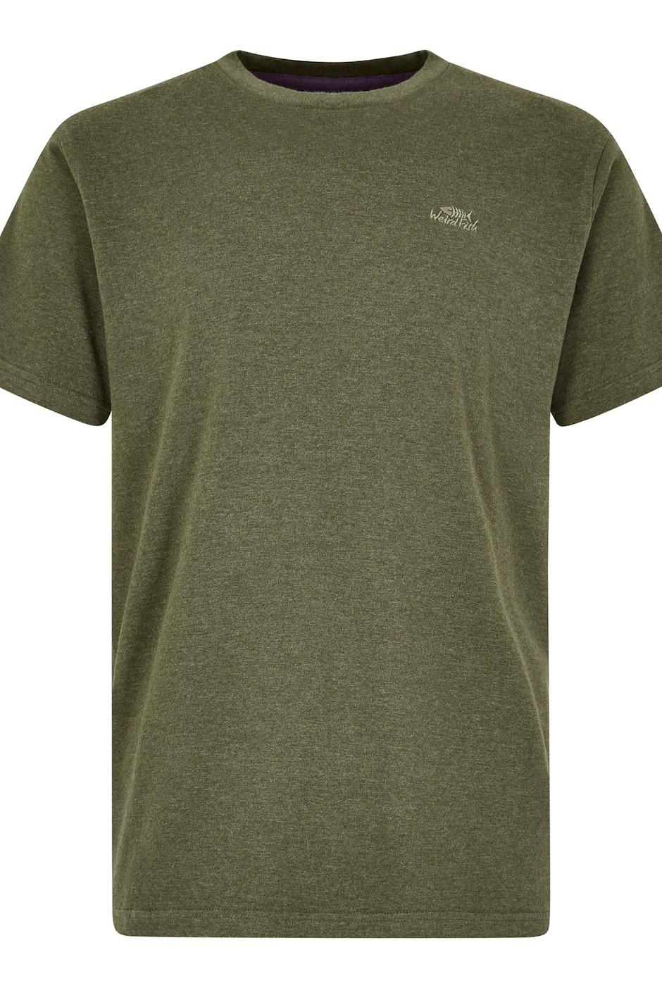 Fished Plain Branded T-Shirt Dark Olive Marl