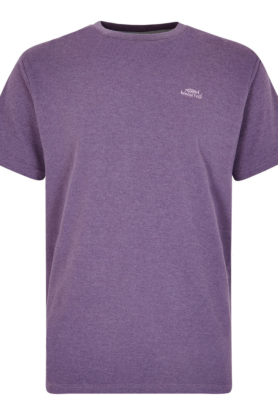 Fished Plain Branded T-Shirt Light Grape Marl