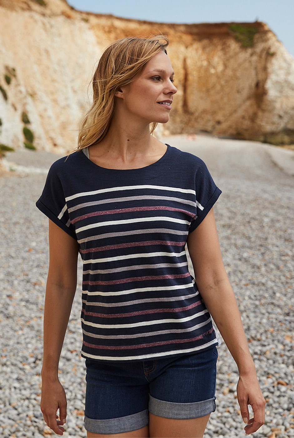 Barberry Stripe Slub Jersey T-Shirt Dark Navy