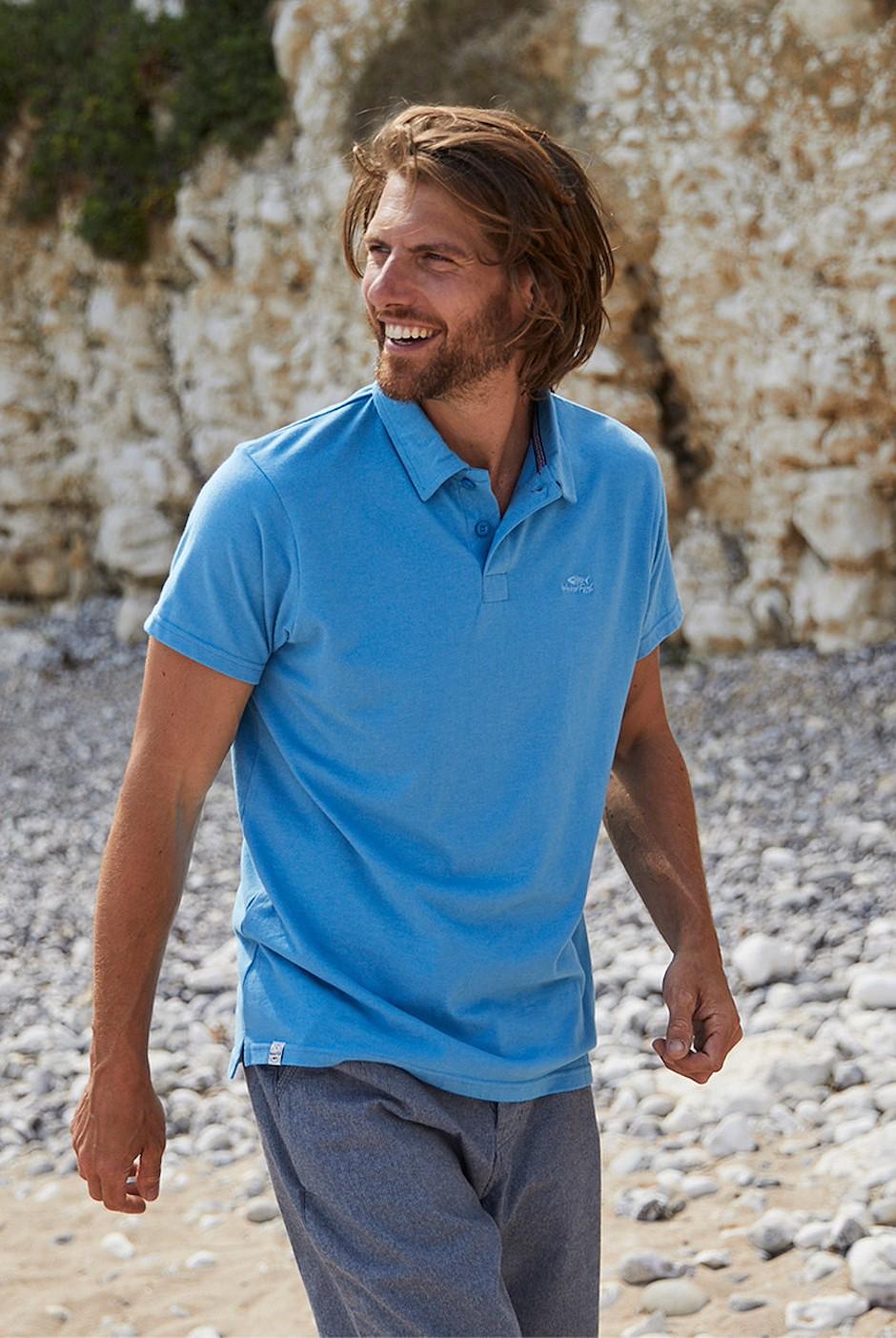 Quay Branded Polo Shirt Copen Blue Marl