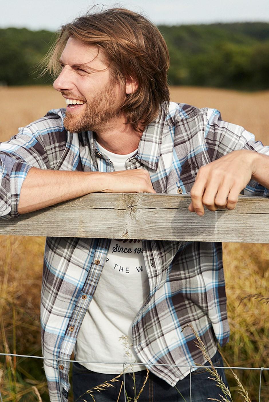 Sedona Herringbone Check Shirt Copen Blue