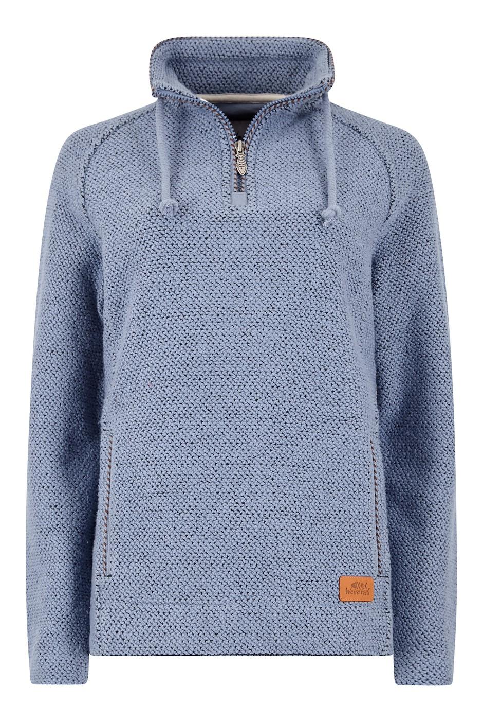 Geranium 1/4 Zip Classic Macaroni Sweatshirt Light Blue