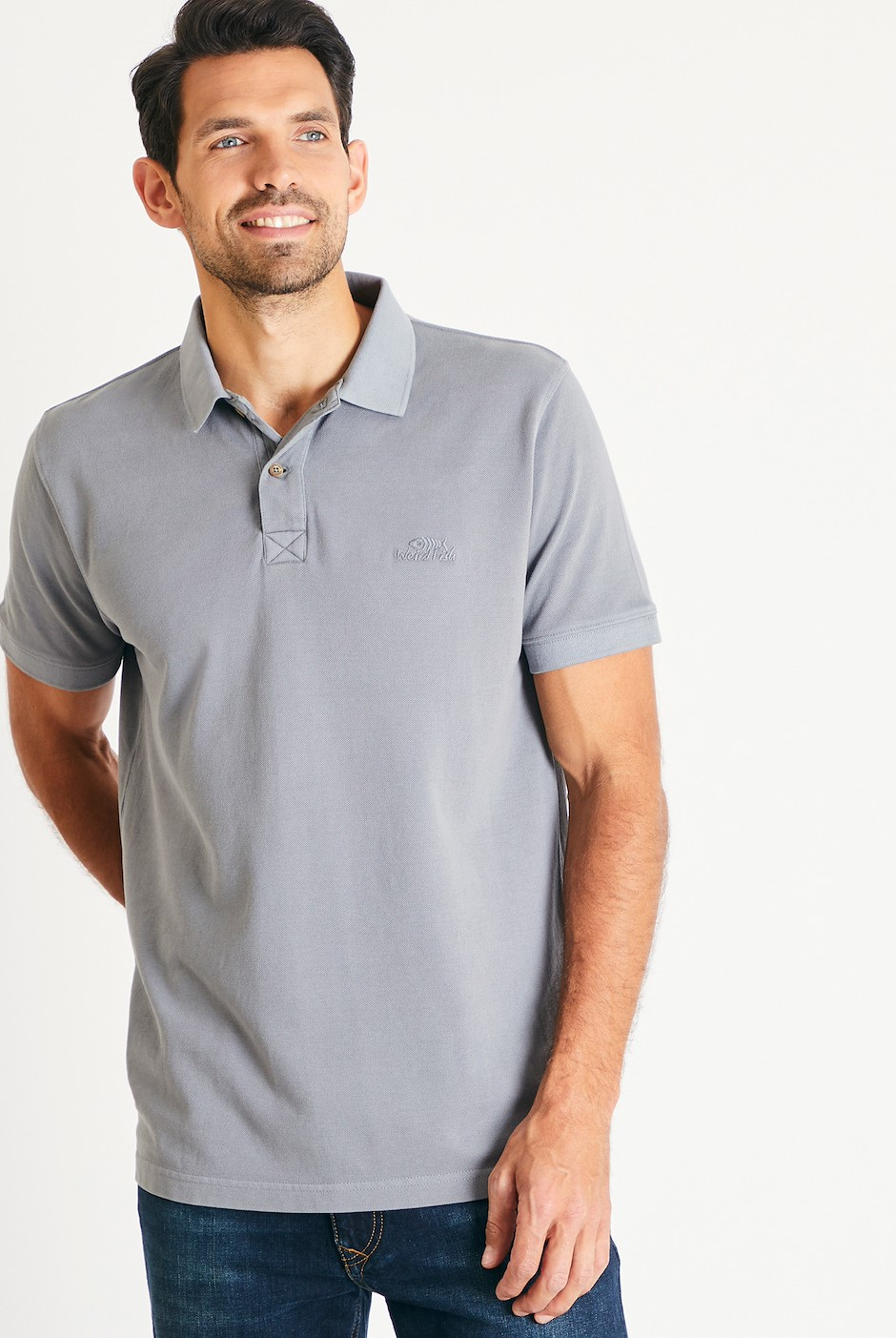 Lenny Plain Cotton Polo Shirt Gunmetal