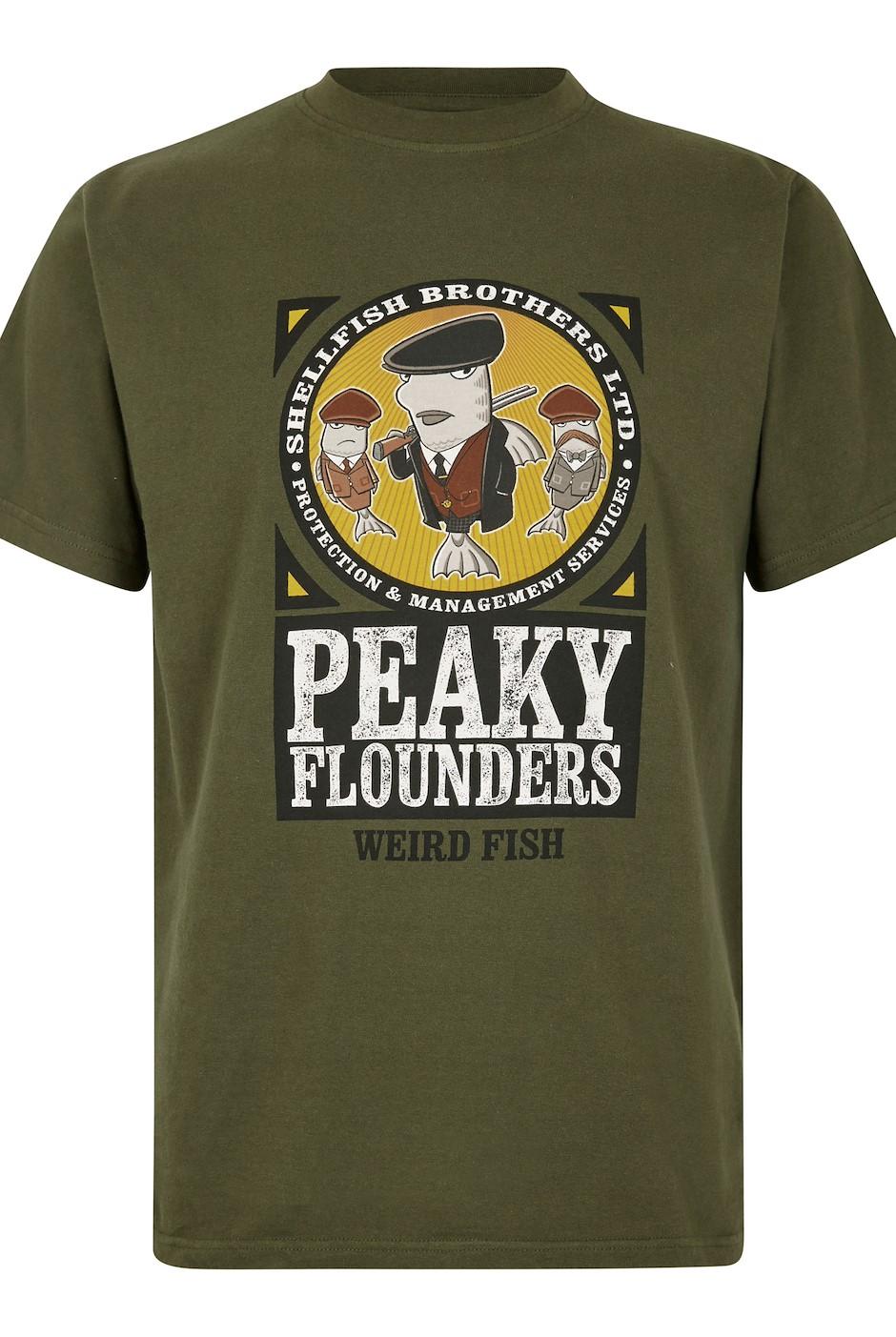 Peaky Flounders Artist T-Shirt Dark Olive