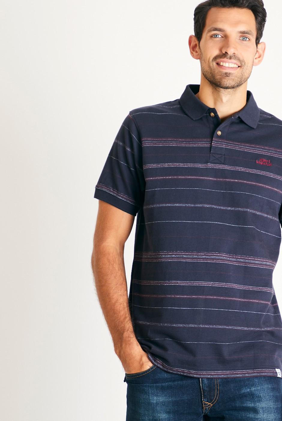 Draycott Stripe Jacquard Polo Shirt Washed Black