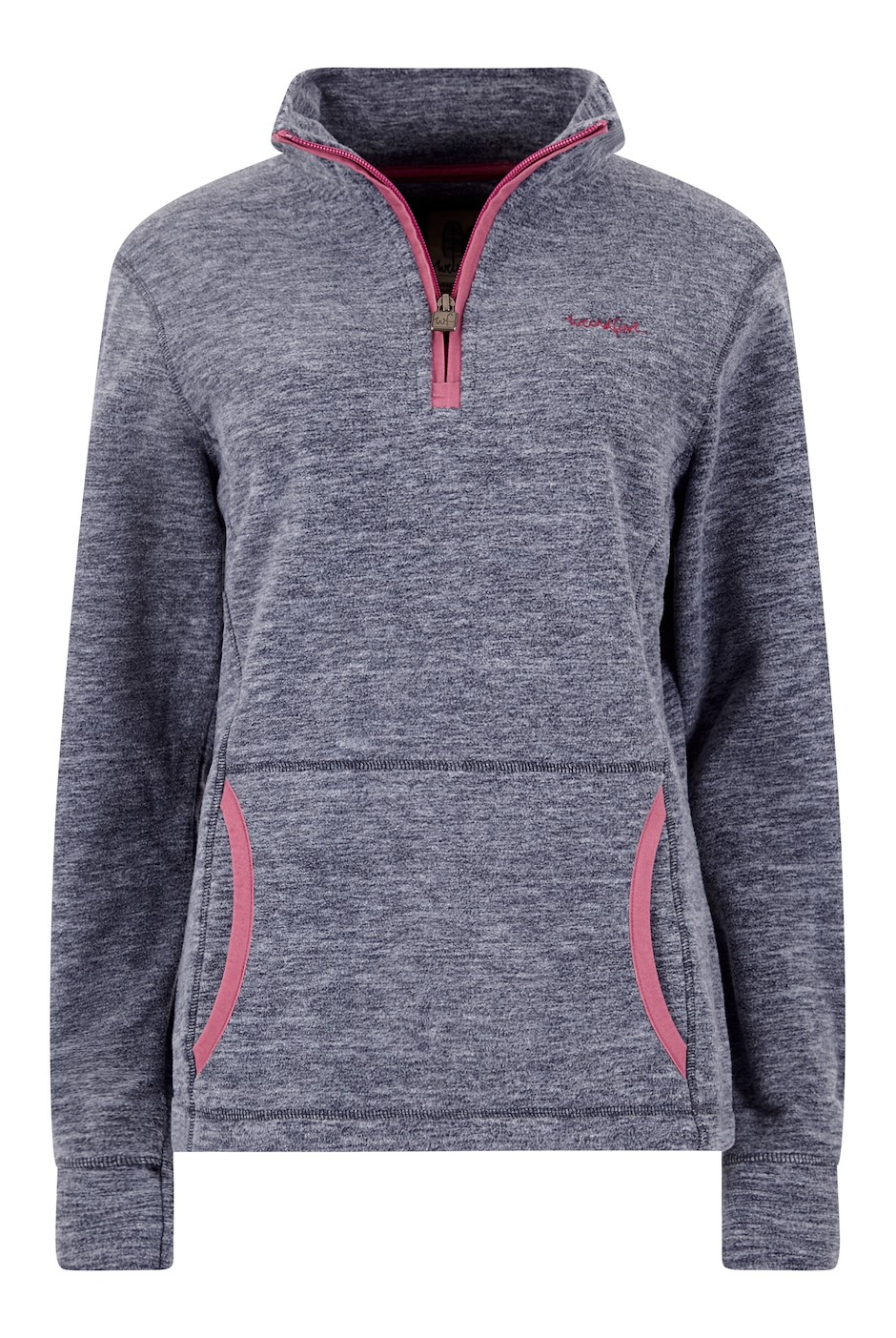 Nancy 1/4 Zip Melange Fleece Sweatshirt Dark Navy