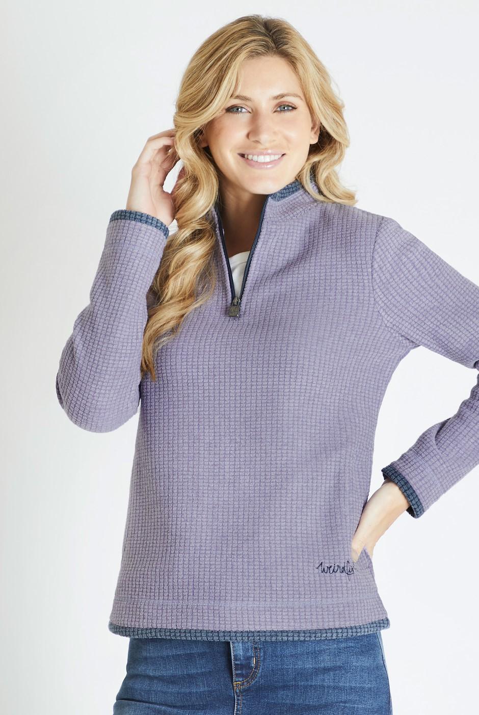 Beyonce 1/4 Zip Grid Fleece Sweatshirt Dewberry